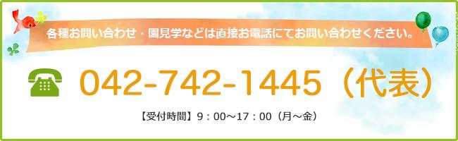 各種お問い合わせ・園見学などは直接お電話にてお問い合わせください。